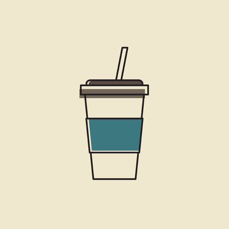 Vector of cold drink cup icon.