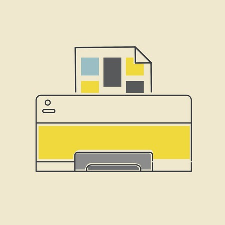 Vector of computer printer icon. Illustration