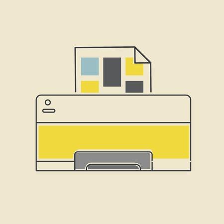 Vector of computer printer icon. 向量圖像