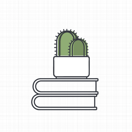 Vector of cactus on books. Illustration