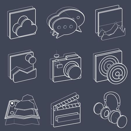 Illustration set of recreation icons. Иллюстрация