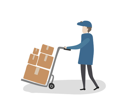 Delivery man push a package cart to delivered