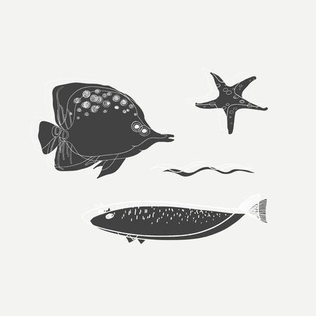 Illustration des Fischvektorsatzes Standard-Bild - 86964356