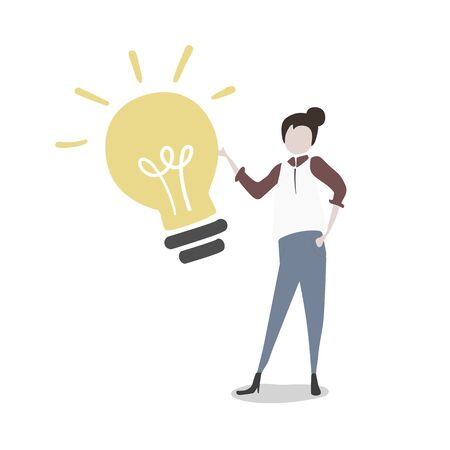 Illustration of a girl with light bulb
