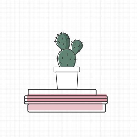 Vector van cactus op boeken. Stockfoto - 86923790