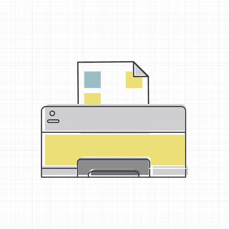 Vector of computer printer icon Illustration