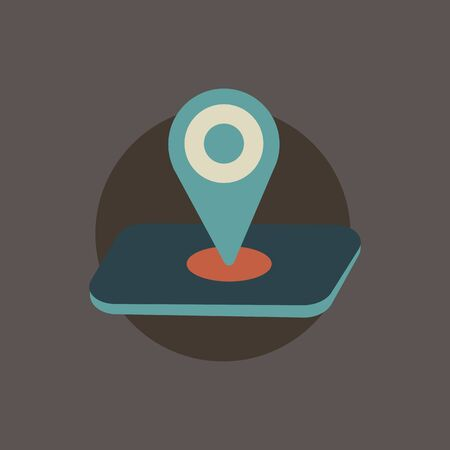 Map pointer, location sign for GPS navigation in flat style isolated on brown background. Ilustração