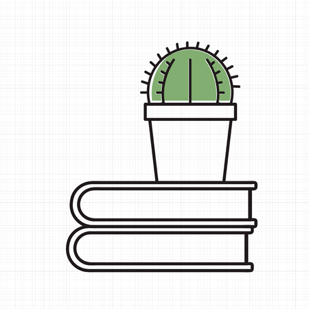Vector van cactus op boeken