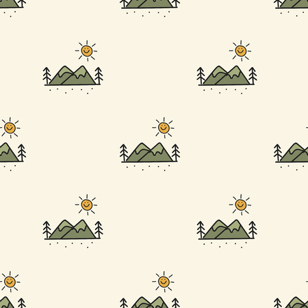 Illustration drawing style of camping icons background Illusztráció