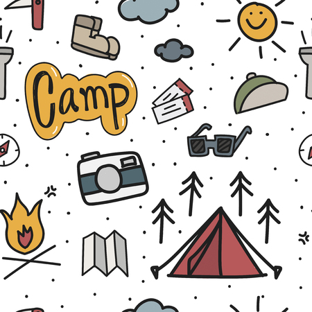 Illustration drawing style of camping icons background 向量圖像