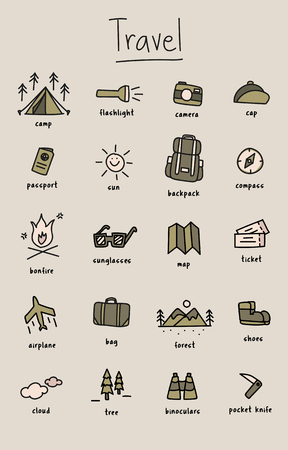 Illustration drawing style of camping icons collection 向量圖像