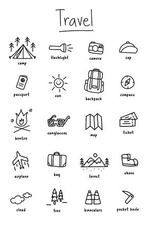캠핑 아이콘 모음의 그림 그리기 스타일 일러스트