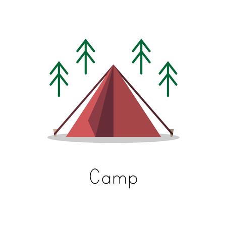 キャンプのアイコン コレクションのスタイルを図面の図