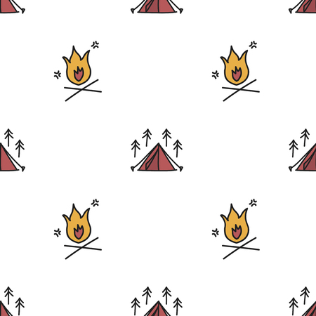Illustration drawing style of camping icons background Ilustrace