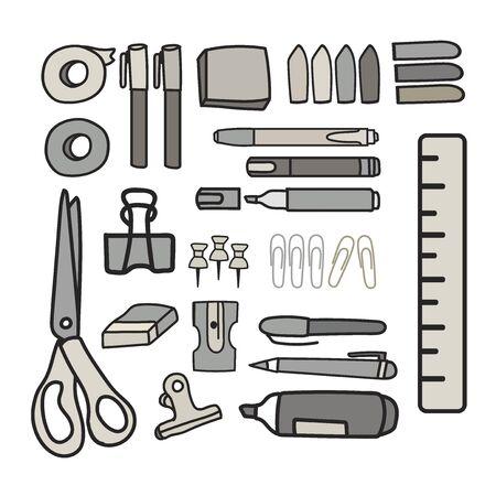 Vector set van briefpapier doodle stijl Stock Illustratie