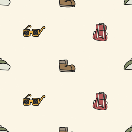 Illustration drawing style of camping icons on white background. Illustration
