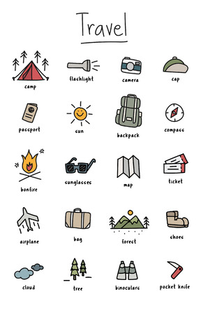 Illustration drawing style of camping icons collection Illustration