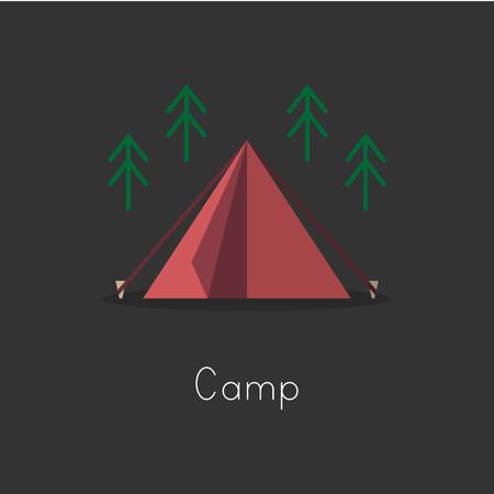 キャンプのアイコン コレクションのスタイルを図面の図。