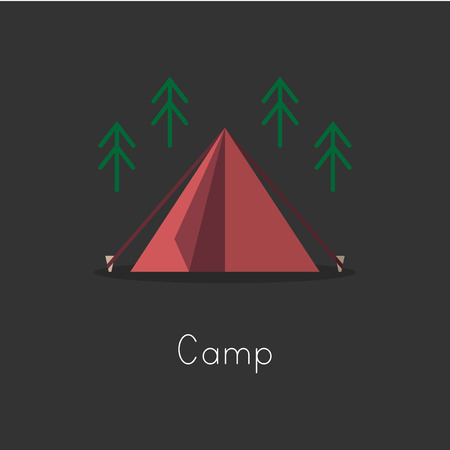 Illustration drawing style of camping icons collection. 向量圖像