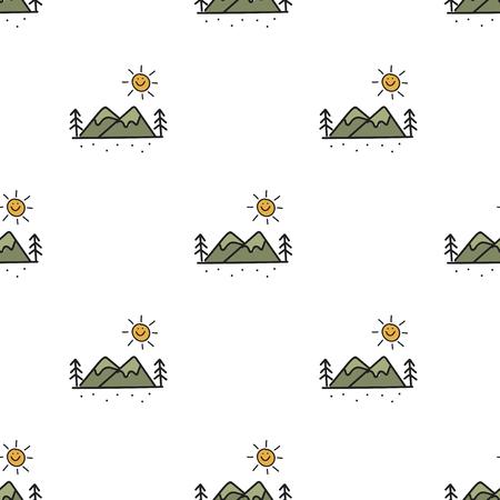 그림 흰색 배경에 캠핑 아이콘의 스타일을 그리기. 일러스트