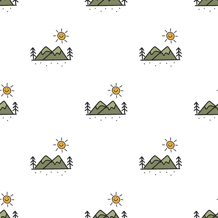 Illustration drawing style of camping icons on white background. 向量圖像