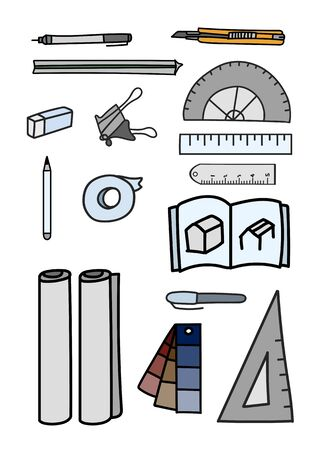 A vector set of stationery doodle style on white background.