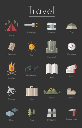 Illustration drawing style of camping icons collection. Ilustrace