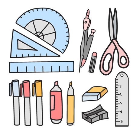 A Vector set of stationery doodle style.