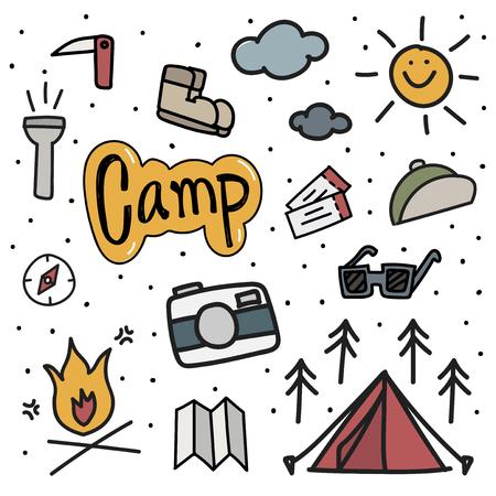 그림 그리기 스타일 캠핑 아이콘 배경입니다.