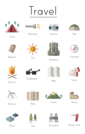 Illustration drawing style of camping icons collection Ilustrace