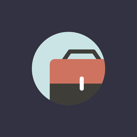 An illustration of business bag icon on black background.