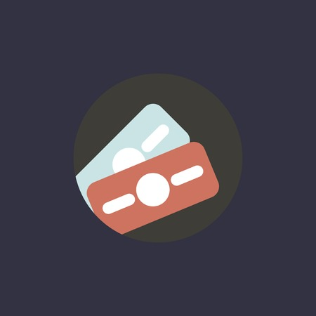 A vector of money bill icon on black background.