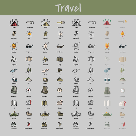 Illustration drawing style of camping icons collection Ilustração