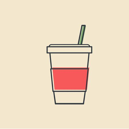 차가운 음료 컵 아이콘 벡터