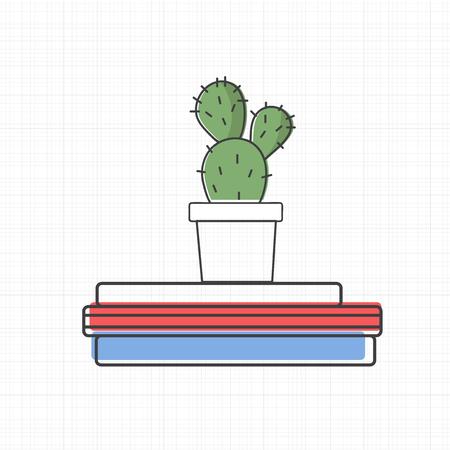 Illustration of cactus on books