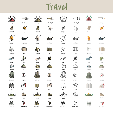 Illustration of camping icons in drawing style.
