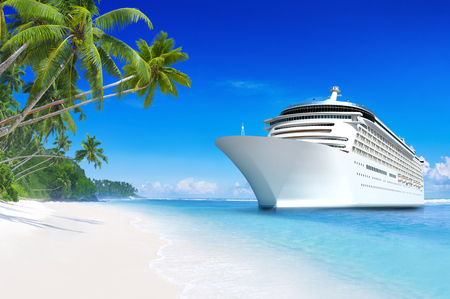 3D cruise ship at a tropical beach paradise in Samoa Reklamní fotografie - 89581795