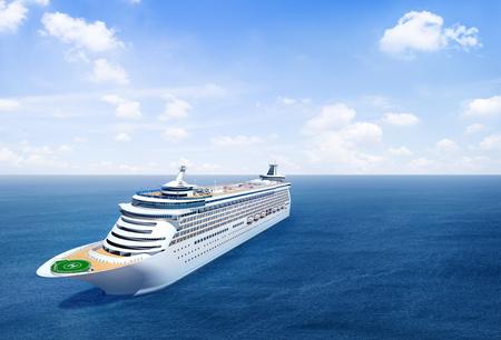 美しい景色と海のクルーズ船です。 写真素材