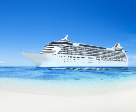 3D cruise ship by the shore Stock Photo