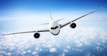 Airplane Skyline Horizon Flight Cloud Concept Stok Fotoğraf