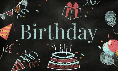 Birthday cake illustration Stock Photo