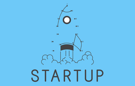 Startup rocket illustration Фото со стока