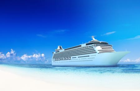 크루즈 목적지 오션 섬 섬 컨셉