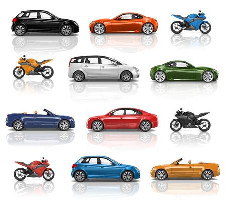 Illustratiecollectie van auto's en motorfietsen