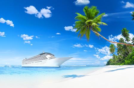 海岸で 3 D クルーズ船 写真素材