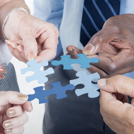 비즈니스 연결 회사 팀 지그 소 퍼즐 개념