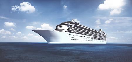 3D Kreuzfahrtschiff am Ufer Standard-Bild - 90037689