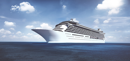 3D cruise ship by the shore Banque d'images