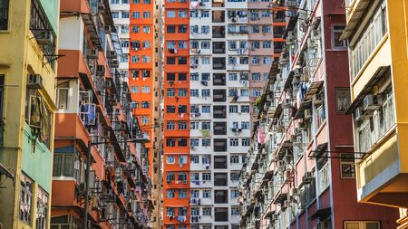 overcrowded: Housing projects in Hong Kong