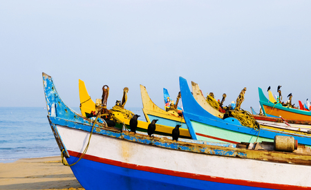 Colourful fishing boats, Kerala, India. Stock Photo